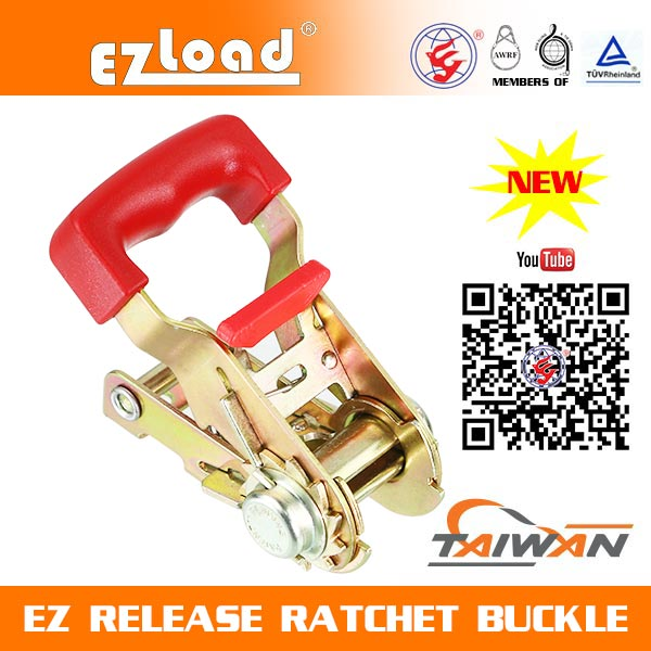 1 inch One Piece Wide Handle, Red Soft Handle, EZ Release Ratchet buckle