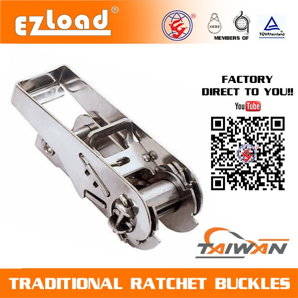 1 inch One Piece Narrow Handle, Stainless Steel Ratchet Buckle