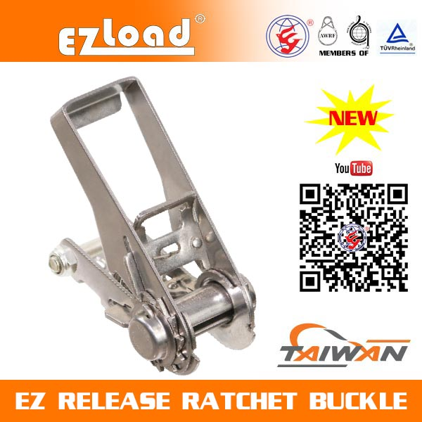 1 inch One Piece Narrow Handle Stainless Steel, EZ Release Ratchet buckle