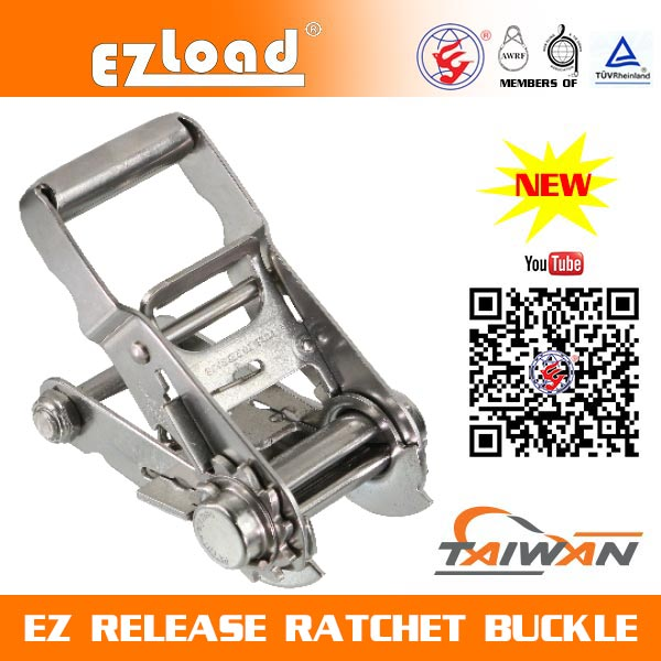 2 inch One Piece Short Handle, Double Security Lock, 304 Stainless Steel, EZ Release Ratchet buckle